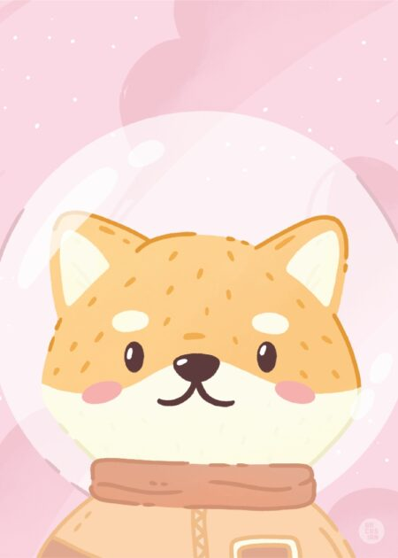 Space Cadet Simu Shiba Inu Kawaii poster in pink and orange